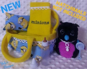 MINIONS 7 Pcs Set For Hatchimals Hatching Toy Egg Handmade Clothes Dress,Carryout Bed,Mattress,Pillow,Blanket,Baby Bottle,Rattle,Pacifier