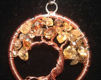 Citrine Tree of Life Necklace Pendant with  copper wire.