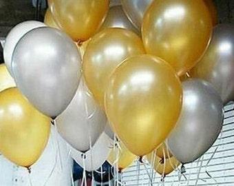 Gold and Silver Balloons, Gold Balloons, Silver Balloons, Party Balloons Mixed Pkt 12
