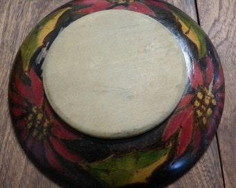 Antique Australian Poker Work Poinsettia Chopping Board / Vintage Cutting Board / Vintage Bread Board