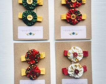 Christmas clips, toddler hair clips, pair of hair clips, stocking fillers, non-slip, small clips