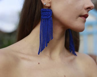 Extra Long Tassel Earrings Blue Tassels Sterling Silver Earrings Cobalt Blue Tassels Autumn Earrings Fringe Earrings