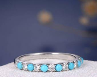 Turquoise Ring Diamond Wedding Band Minimalist White Gold Stacking Ring Anniversary Multistone Half Eternity Gemstone Ring Wedding Band