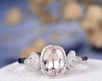 Antique Morganite Engagement Ring Delicate Oval Cut Morganite Ring White Gold Wedding Ring Flower Leaf Milgrain Bezel Set Anniversary Bridal