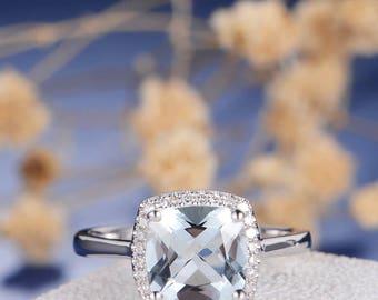 Aquamarine Engagement Ring Cushionl Cut Halo Diamond White Gold Anniversary Promise March Birthstone Wedding Multistone Plain Band Retro