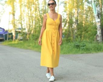 Sleeveless linen dress, dress with pockets, linen pinafore dress, linen loose fit dress,linen dress, yellow linen dress, linen overall dress