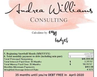 Andrea Williams Consulting Debt Snowball Calculator - Advanced Version