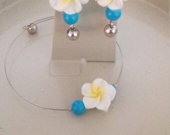 Set bracelet and earrings, MoovClipEar, Hibiscus, summer dress, Summer lights islands, interchangeable earrings