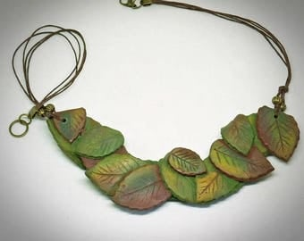 Bib necklace, Polymer clay, Leaf necklace, Modern jewelry, Nice gift for her, Nature lover gift , Green necklace, Handmade jewelry, Rustic