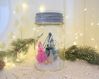 Vintage Mason Jar Snow Globe Christmas Trees with Zinc Lid