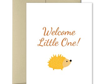 New Baby Card - Welcome Baby Card - Pregnancy card - Baby Shower card - New parents Card - Woodland Animals - Welcome Little One - Hedgehog