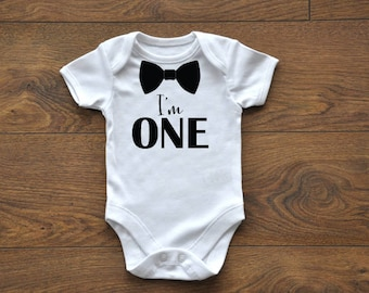 Baby Boy Birthday Outfit, One, Bow Tie Onesie, Boys Outfit, Birthday Onesie, Birthday Bodysuit, Little Mister, Gentleman