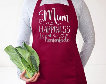 Mum, Happiness is Homemade Apron - Mother's day Gift - Gift for Mum - Gift for Mom - baking gift - cooking gift - gift for her -