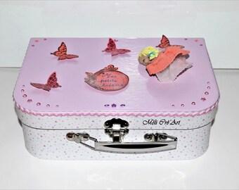Box suitcase baby girl princess butterflies
