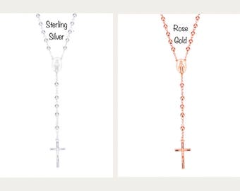 Couples Rosary Necklaces, His & Hers Rosary, Sterling Silver and Rose Gold Plated Rosaries, Catholic Gifts, Spiritual Gifts, Wedding Gifts