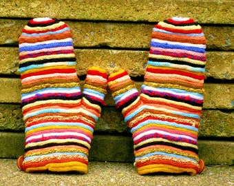 Multicolored mittens, unisex gloves, fingerless mittens wool fingerless gloves very warm, winter, knitting, fingerless gloves handmade