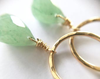 14k Golf Filled AVENTURINE Hammered Circle Earrings Gold, faceted gemstone drops, minimalist, everyday, gift for her, by Little Motives