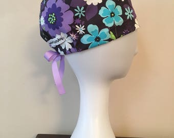 NattyScrubs Purple, Teal, White Flowered Black Scrub Hat, Surgical Cap, Scrub Cap