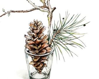 Pine tree original painting, pine watercolor original art, artwork, pinecone  art, 18x24in ,wall art,  Painting , homedecor,