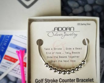 Golf Stroke Counter Bracelet, Sterling Silver, Bangle, Golf Jewelry, Score Keeper, Gift for her, sports jewelry, Count-on-Me, Counter Beads