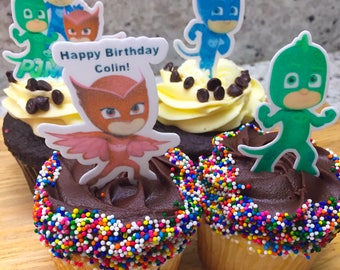 Pjmasks Cupcake Toppers,EDIBLE, Pjmasks, Pjmasks birthday, Pjmasks party, Pjmasks theme, PJmasks decorations,Birthday Cupcake Topper, precut