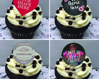 Custom (Edible) Cupcake Toppers, Custom Cupcake toppers,Logo cupcake toppers, Personalized Cupcake toppers, Birthday Cupcake Toppers