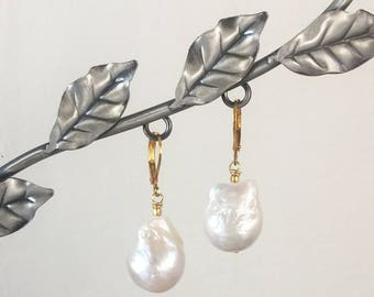 Large Freshwater Baroque Pearl and 24K Gold Vermeil Lever Back Drop Earrings