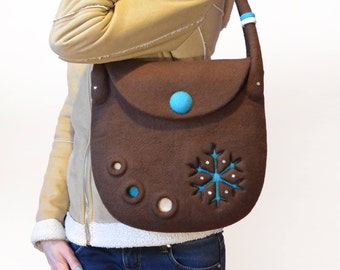Brown Wool Handbag, Hand Felted Bag with Felt Snowflake, Ready To Ship