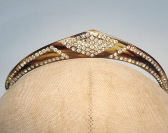 Vintage 1920's Diamante Faux Tortoise Tiara Headdress Crown Wedding Flapper Debutante