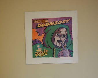 "MF DOOM Operation Doomsday Album Cover Hand Painted on Canvas - 10"" by 10"" - Premium Painted Poster Original"