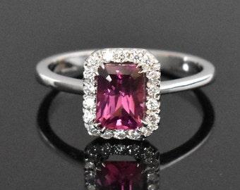 18K White Gold Pink Tourmaline & Diamond Ring | Engagement Ring | Wedding Ring | Statement Ring | Handmade Fine Jewelry | Diamond Halo