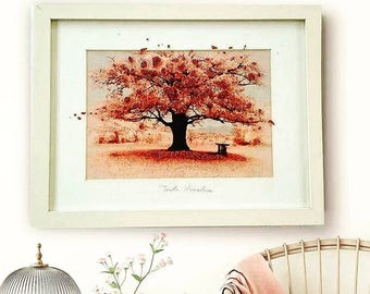 Cherry Blossom Print, Pink Tree Print, Baby Gril Nursery Wall Art, Girls Bedroom Decor, Housewarming Gift for Mother, Cherry Blossom Tree