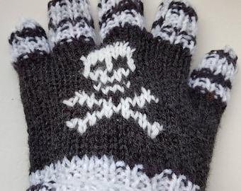 Pair Children's Gloves, Hand knitted Black/White yarn, Skull & crossbone, Treat, Child's gift, Warm Gloves, Pirate, Steampunk, Hands warm.