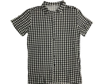 Houndstooth Shirt Ricky Costume Bowling Button Down Up TV Show T-Shirt Park Hounds Tooth Cosplay Trailer Hawaiian Collar Gift High Quality