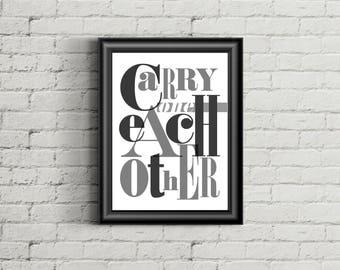 U2 Inspired Poster Print | 11x14 | One | Typography | Lyric Art