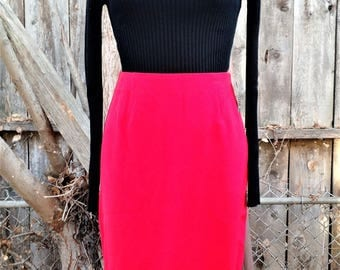 Bright Red 1950s style Dapper Day Pin Up Rockabilly Wiggle Pencil Skirt 90s 200s Style NWT Size Small