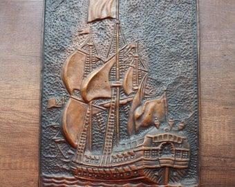"""Vintage Copper Picture, Copper pattern,  The Ship """"Poltava"""""""