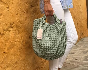 Scandinavian Style Crochet Bag Knitted Handbag MINT color