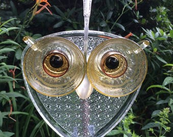 Repurposed Glass Owl Garden Art Suncatcher