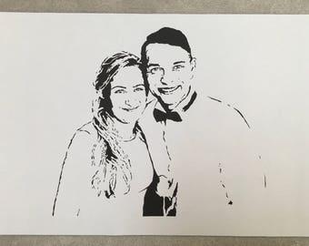wedding anniversary gift, custom portrait based on photo, personalized portrait, paper cut art, wall decor, framed, souvenir, gift