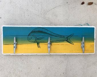 Mahi Cleat Rack, Nautical Cleat Rack, Coastal Wall Hook Rack, Dock Cleat Rack, Coastal Decor towel rack