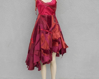 One of a Kind Burgundy Shabby Chic Patchwork Dress