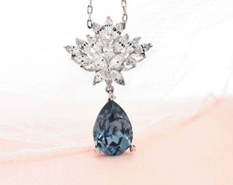 Blue bridal necklace, navy blue bridesmaid necklace, Swarovski crystal necklace, personalized bridesmaid gift, denim blue wedding necklace