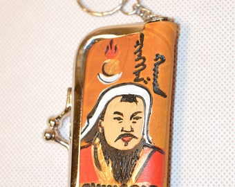 Genghis Khan Hand Made Mongolian Leather Keychains,