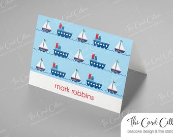 Personalized Notecard, Custom Stationery, Folded Notecard, Foldover Notecard, Thoughtful, Gift, Boats, Ships, Cards for Boys, Blank card