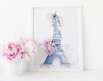 Eiffel Tower Paris Wall Art, Paris Wall Art, Paris Watercolor Art prints, Beauty Room Art Print, Eiffel Tower Paris Wall Decor,Fashion Print
