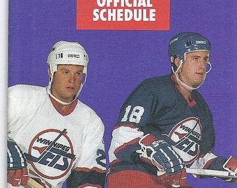 1990/91 NHL Winnipeg Jets Pocket  SCHEDULE