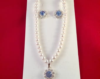 Pearl Necklace and Earrings set with Swarovski Crystals