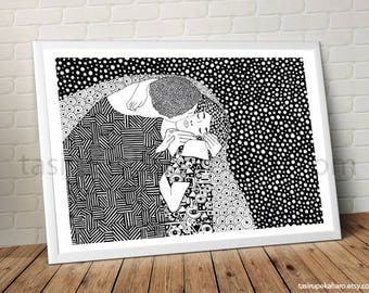 The Kiss. Gustav Klimt. A3 Print. Art. Famous Painting. Famous Painter. Contemporany. Classic Art. Black and white.© FREE SHIPPING