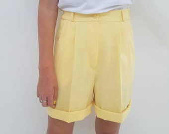 Yellow Vintage Shorts // High Waisted Grandpa Style // Loose Long Summer Cotton 80's Pants // Womens Size 8 Aus